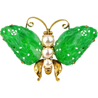 Certified Natural Green Jadeite Jade Art Deco Butterfly Brooch 14K Gold