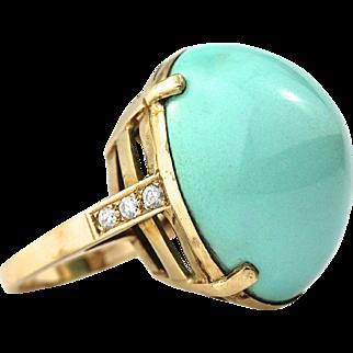 Impressive Vintage 60-Carat Sugarloaf Persian Turquoise & Diamond 14K Gold Ring, Circa 1960s