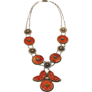 Antique Chinese Export Silver Gilt Qing Art Deco Carved Carnelian Filigree Necklace