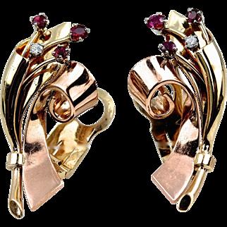 "Vintage Retro Large 14K Rose & Yellow Gold Ruby Diamond Earrings, 16.82 grams, 1 ½"" long x 3/4"" wide"