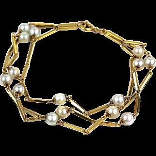 "Vintage Unoaerre Italy 18K Yellow Gold Pearl Triple Link Bracelet, 7 3/4"" Long"