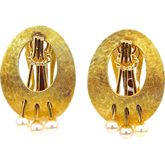 """Vintage Large 14K Yellow Gold Pearl Clip Earrings Brushed Finish, 1"""" L"""