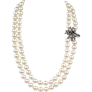 Vintage Estate Double Strand Cultured Pearl Necklace Floral Ribbon Spray Diamond  14K White Gold Clasp