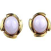 Vintage 14K Gold Natural Lavender Jadeite Jade Cabochon Clip Earrings
