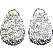 John Hardy Buddha Belly Pave Studded Diamonds 18K Gold & Silver Earrings