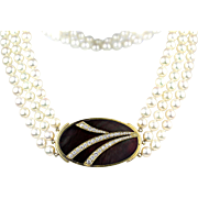 GEMLOK 18K Yellow Gold Mother of Pearl 1.5 CTW Diamond Pendant Triple Strand Culture Pearl Necklace