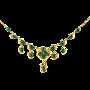 GIA Certified Vintage Natural Jadeite Jade Cabochons 18K Gold Foliate Necklace