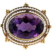 Antique Edwardian Large 23 Carats Amethyst 14K Gold Filigree Pendant Brooch