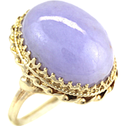 Large Natural Jadeite Jade Cabochon Purple Lavender 14K Gold Ring