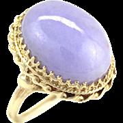 Large 26 Carat Natural Untreated Jadeite Jade Cabochon Purple Lavender 14K Gold Ring