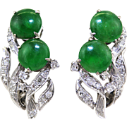 GIA Certified Vintage Natural Jadeite Jade Diamond & 14K White Gold Clip Earrings