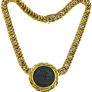 Unoaerre Italian 18K Yellow Gold Ancient Roman Coin Necklace