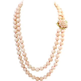 Vintage 18K Gold Double Strand Large Blush Angel Skin Coral Bead Necklace