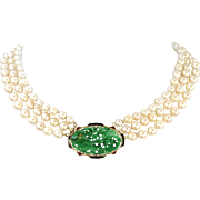 Art Deco Carved Natural Jadeite Jade 14K Gold Enamel Pendant & Akoya Three Strand Pearl Necklace