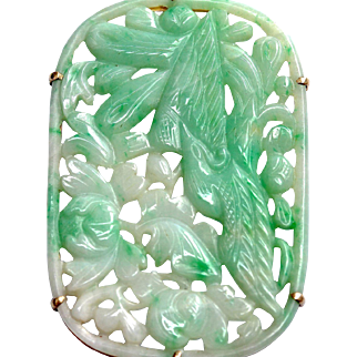 Antique 19th Century Qing Dynasty Natural Jadeite Jade Carved Pendant 14K Gold