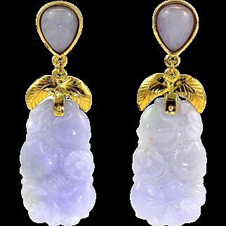 """Large Natural Carved Lavender Jadeite Jade Drop Dangle Earrings 14K Gold, 2-1/4"""" L"""