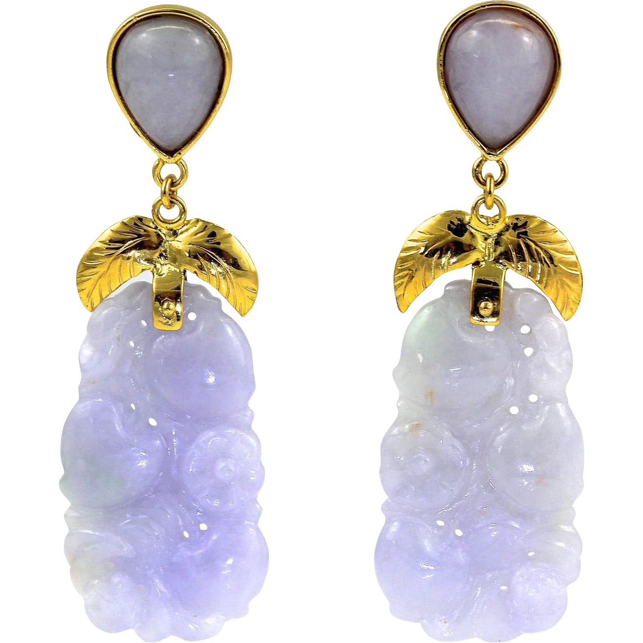 "Large Natural Carved Lavender Jadeite Jade Drop Dangle Earrings 14K Gold, 2-1/4"" L"