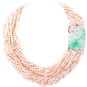 "Vintage 18K Gold Natural Jadeite Jade & Angel Skin Blush Pink Coral 10 Strand Necklace, 38.5"" L, 289 Grams"