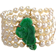 "Art Deco Qing Dynasty Carved Natural Jadeite Jade & Cultured Pearl 14K Gold 1.5"" Wide Bracelet"
