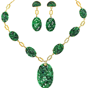 Antique Art Deco & Qing Dynasty Natural Carved Jadeite Jade Suite of 14K Gold Necklace & Earrings, Mason Kay Certified