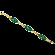 Antique 14K Gold Art Deco Qing Dynasty Carved Natural Jadeite Jade Bracelet
