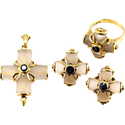 LALAOUNIS 18K Gold, Suite Earrings Pendant & Ring, Rock Crystal Sapphire Cross, Signed