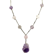 "Vintage Chinese Export Art Deco Carved Amethyst Shou Beads and Pendant Silver Necklace, 16""L"