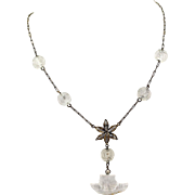 """Vintage Chinese Export Art Deco Carved Crystal Shou Beads and Pendant, Gilt Silver Necklace, 16.5""""L"""
