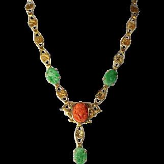 Antique Art Nouveau 14K Gold Carved Cameo Coral Pendant and Natural Jadeite Jade Link Leaf Necklace