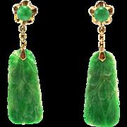 Antique Qing Dynasty Carved Natural Jadeite Jade Drop Dangle 14K Gold Earrings