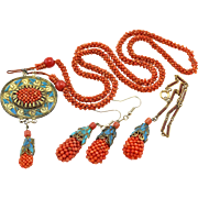 Antique Qing Dynasty Chinese Kingfisher Feathers Coral Necklace Earrings Bracelet Set