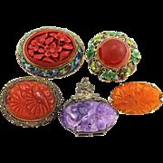 Vintage Lot of 5 Art Deco Chinese Export Silver Enamel Carved Semi-Precious Stones Brooch & Clip