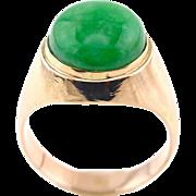 Natural Apple Green Jadeite Jade Cabochon 14K Gold Unisex Ring, Size 8.5