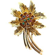 """Vintage Large 14K Gold Ruby Sapphire Turquoise Flower Brooch Pin, 15.83 grams; 2 ¼"""" x 1 ½"""""""