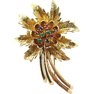 "Vintage Large 14K Gold Ruby Sapphire Turquoise Flower Brooch Pin, 15.83 grams; 2 ¼"" x 1 ½"""