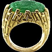 Natural Burmese Carved Jade 18K Gold Unisex Ring, Bamboo Pattern