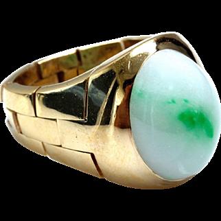 "Natural ""Moss in Snow"" Jadeite Jade 14K Gold Link Unisex Ring"