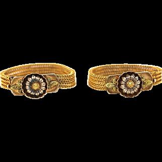 Pair Antique Victorian 18K Gold Baby Bracelets Convertible Lady's Bracelet