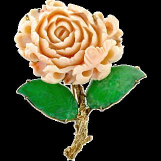 "Mid-Century Coral Chrysanthemum Jade 14K Gold Brooch, 2 3/4"" L"