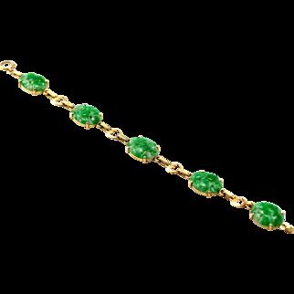 Art Deco Carved Natural Jadeite Jade & 14K Gold Bracelet