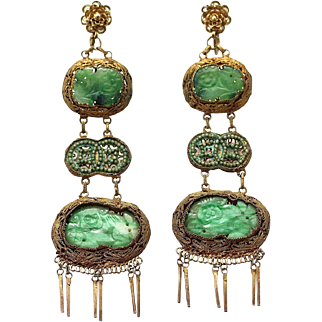 """Antique Chinese Qing Dynasty Foo Dog Natural Jade Pendant Gilt Silver Filigree Earrings, 3 ¾"""" Long"""