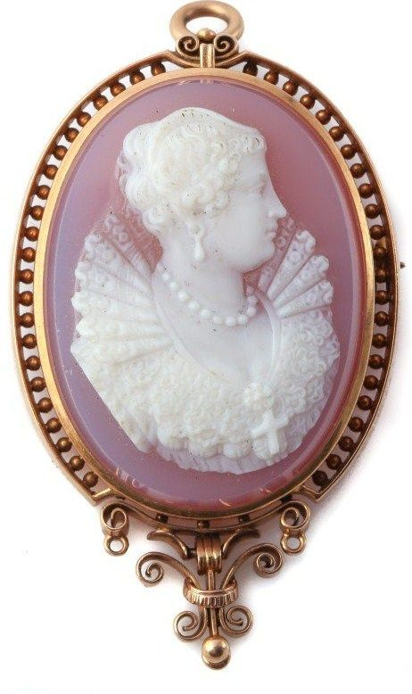 Rare 18k Victorian Rose Hardstone Cameo of Mary Queen of Scots