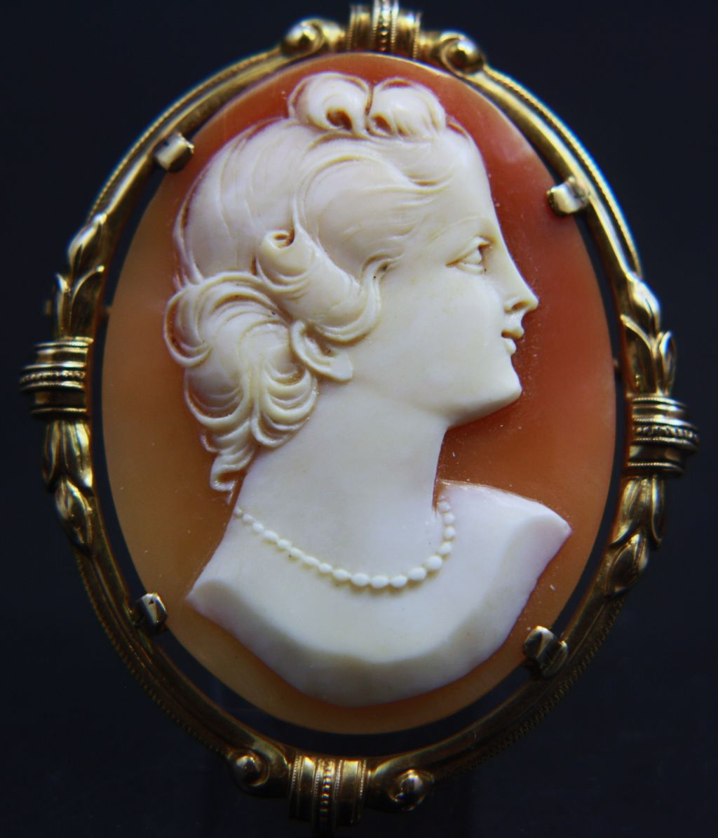 Large 10k Shell Cameo Brooch Pendant Sold Ruby Lane