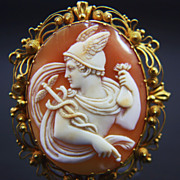 14K Victorian Cannetille Cameo Brooch of Hermes (Mercury)