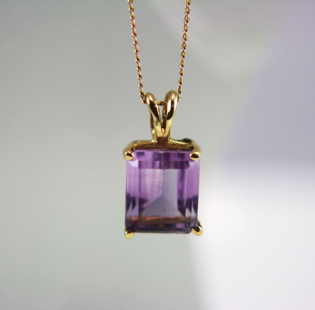 Vintage 14k yellow gold amethyst pendant with 14k gold necklace vintage 14k yellow gold amethyst pendant with 14k gold necklace viviens treasure wonderland cameos ruby lane mozeypictures Gallery