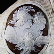 Rare Antique Victorian Conch Shell Cameo of Mars - Venus - Zeus