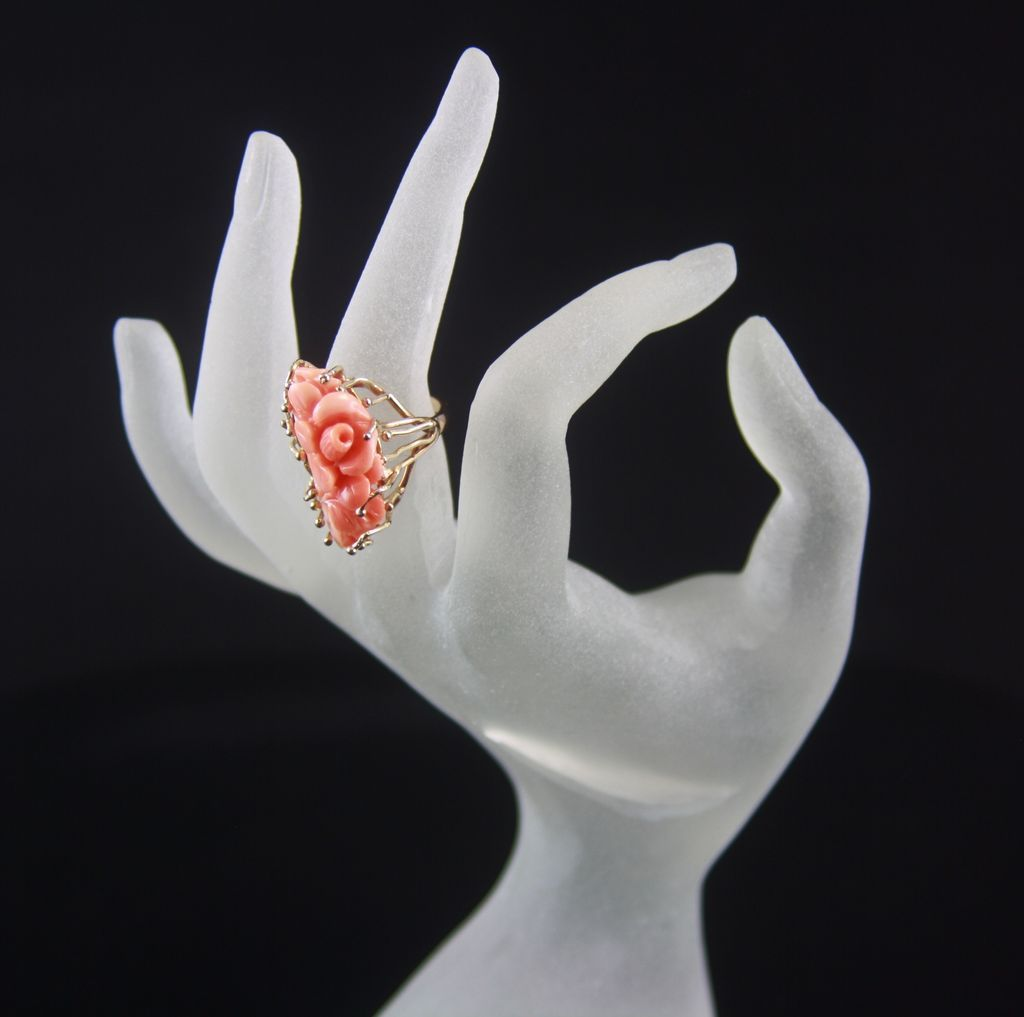 14k Yellow Gold Angel Skin Coral Floral Ring From