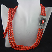 148g 3-strand Graduated Red Coral Barrel Bead Necklace