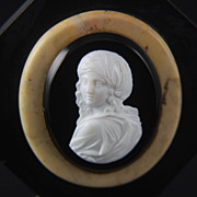 Antique Hardstone Paperweight Cameo of Beatrice Cenci