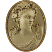 XLarge Victorian Lava Cameo of a Bacchante Lady